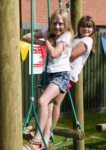 Debenham, Suffolk. Following a successful application to the Big Lottery Fund, a new play area and trim trail is officially opening in Debenham at the Leisure Centre. Pictured are Betty Burrows and Ella Townsend.''Picture: MARK BULLIMORE