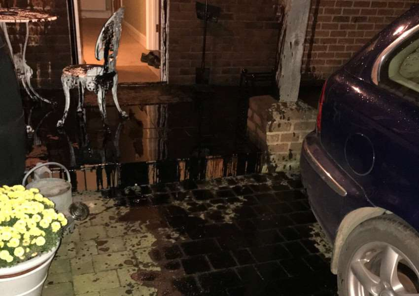 Oil was thrown at an East Harling property and car