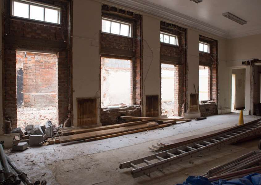 The Waveney Room's floor-to-ceiling windows revealed once . Photo: Lucy Kayne ANL-160415-135643001