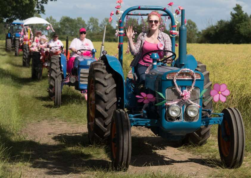 Off road at the Pink Ladies' Tractor Road Run. Photo: Jonathan Slack