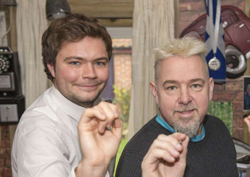 Peter Snakebite Wright feature for the 2016 William Hill World Darts Championship, pictured with Diss Express reporter Zach Ward and Alex Moss from The Bury Free Press.'Picture Mark Westley ANL-150712-202459009