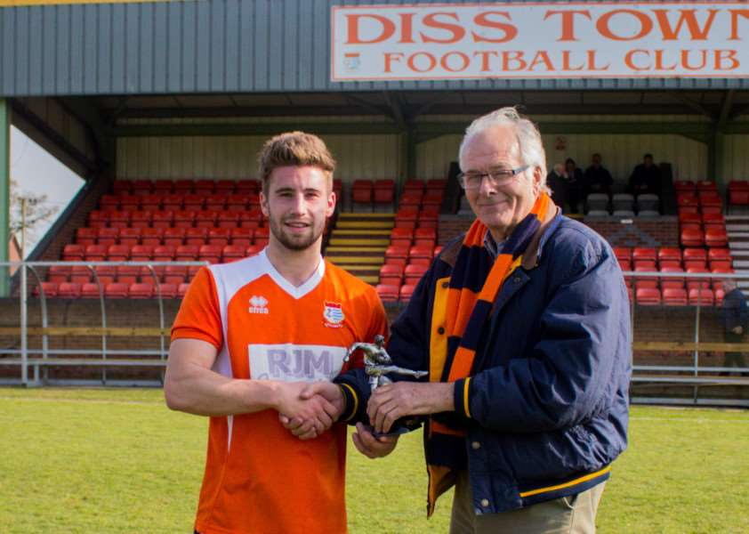 FAN FAVOURITE: Captain Jacob Brown was named as Diss Town Supporters' Player of The Season