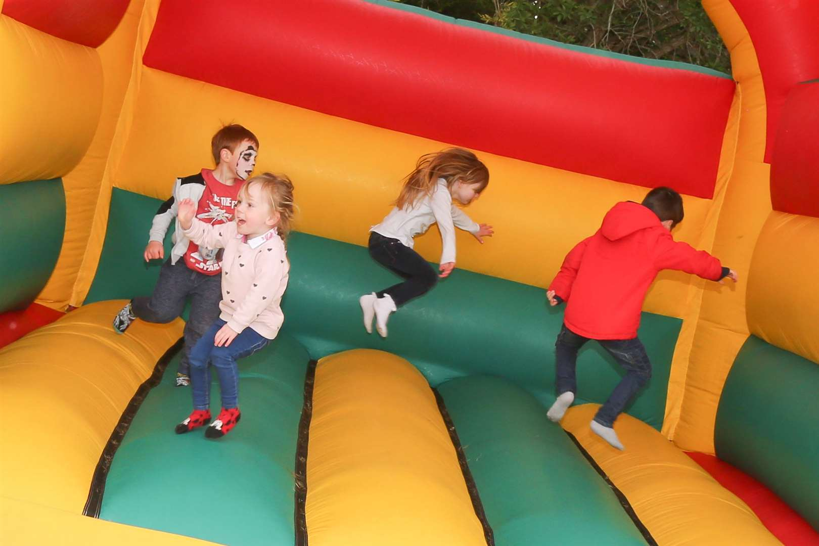 Youngsters loved the bouncy castle.
