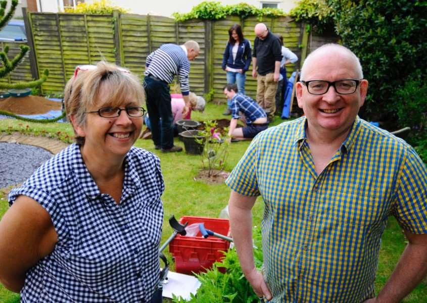 Tasburgh, Norfolk. Archaeological test pits are being dug in gardens around Tasburgh as part of Imagined Land, a two-year archaeology project looking into the ancient history of the village. Pictured are Claire and Nigel Best. ''Picture: MARK BULLIMORE
