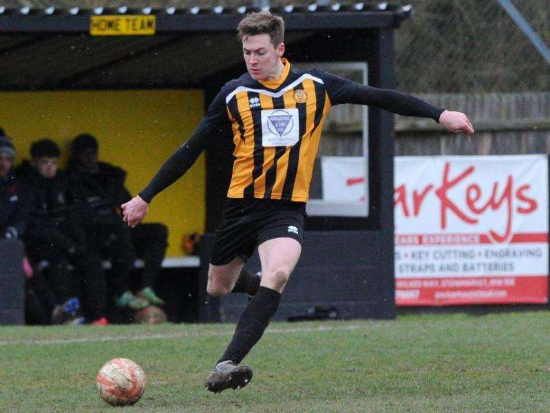 RECORD BUSTER: Josh Mayhew broke the Thurlow Nunn League record in hat-trick style on the way to a 5-1 win for Stowmarket. Picture: Mecha Morton