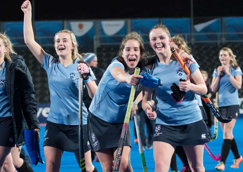 TOP TEAM: Framlingham College's first XI celebrate their success at London's Olympic Park. Picture: Adam Scott