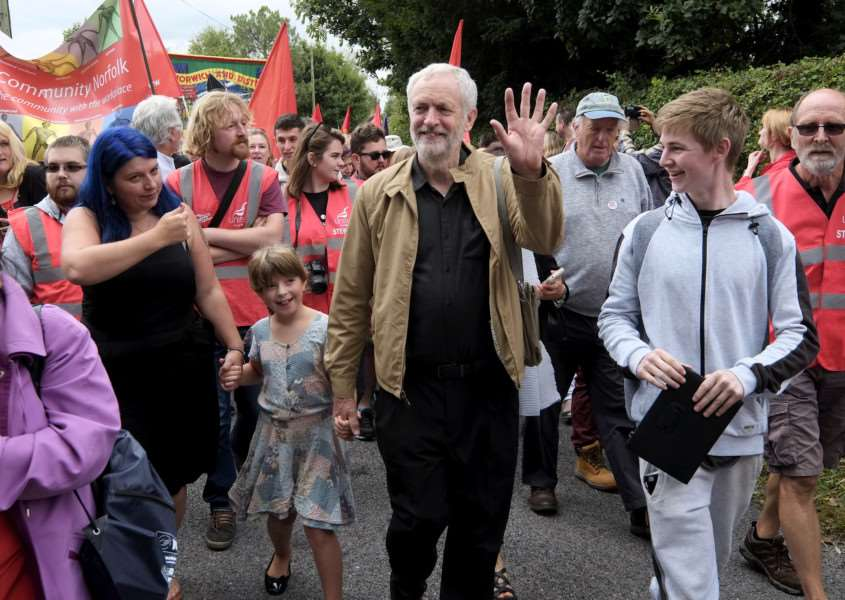 Burton, Norfolk. Labour leader Jeremy Corbyn attends the Burston Strike School Rally.''Picture: MARK BULLIMORE ANL-160409-204557009
