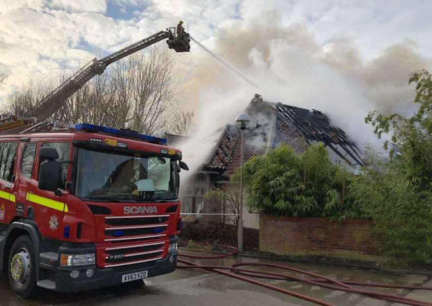 Sixty firefighters tackled a blaze at The Breckland Loge. Pictures: Norfolk Fire and Rescue.