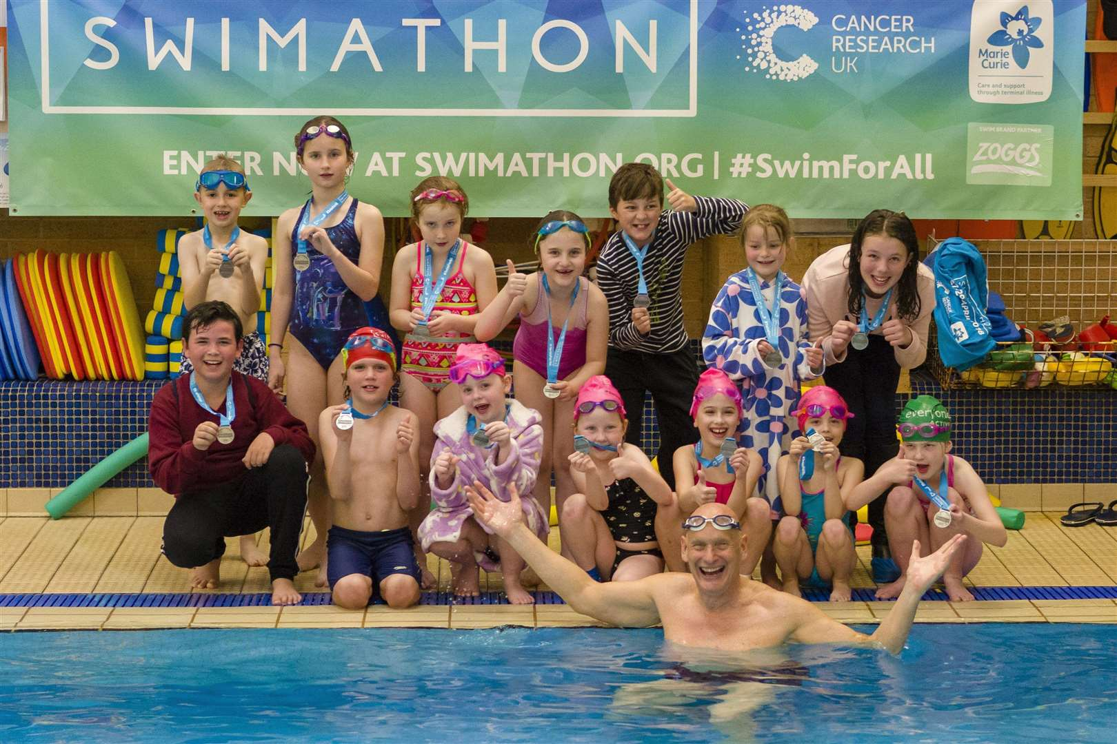 Stradbroke, Suffolk. Swimathon at Stradbroke swimming pool with over 200 swimmers taking part with Duncan Goodhew making a special appearance. Picture: Mark Bullimore Photography (1978635)