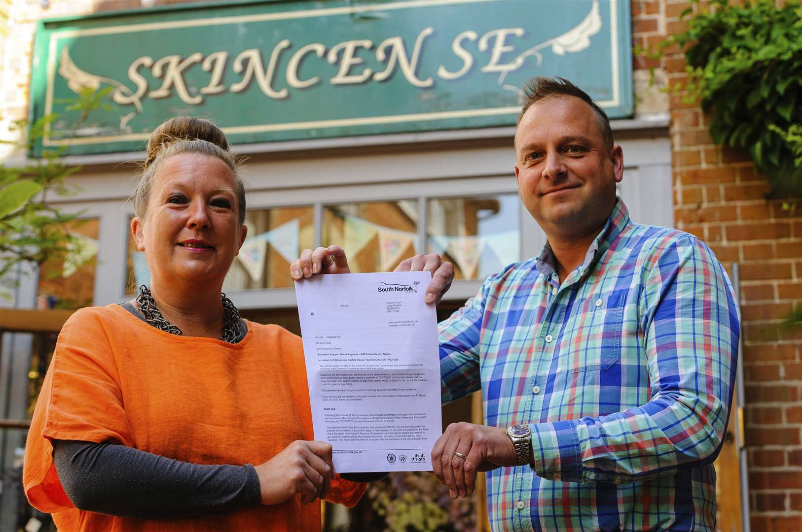 Jonathan and Claire Taylor of Skincense were given a £10,000 grant from South Norfolk Council to stay afloat.