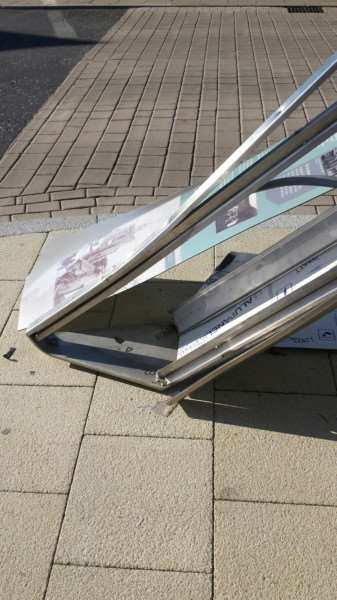The damaged toblerone outside Diss Corn Hall in the Heritage Triangle. Photo: Ian Bevan.