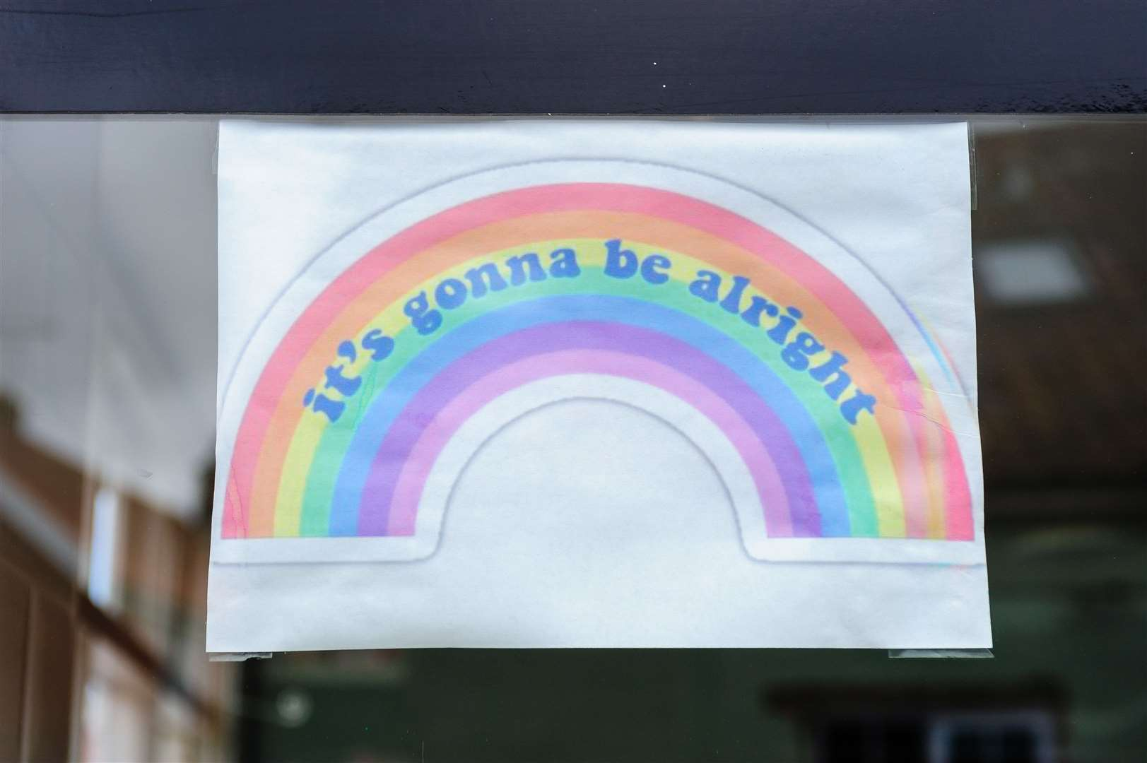 The rainbow in the window of the Fair Green Fish Bar, Diss.Picture: Mark Bullimore Photography.