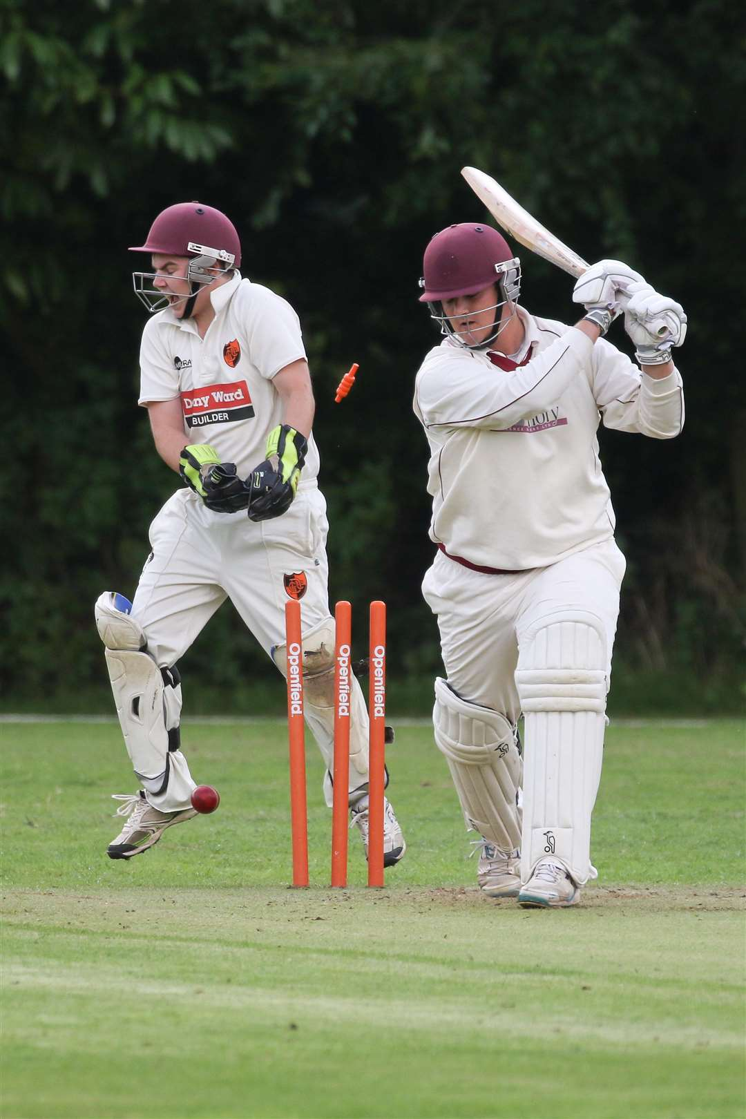 BAILS FLY: Old Buckenham batsman Ben Sheering is bowled by Sam Hunt (Picture: Gary Donnison)