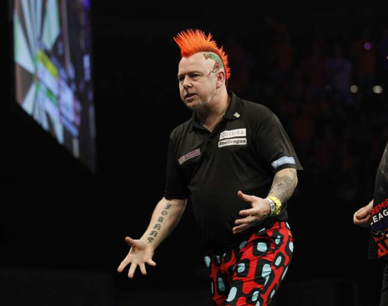 PREMIER LEAGUE DARTS 2016'ROTTERDAM AHOY,'ROTTERDAM,NETHERLANDS'PIC;LAWRENCE LUSTIG'RAYMOND VAN BARNEVELD V PETER WRIGHT'PETER WRIGHT IN ACTION