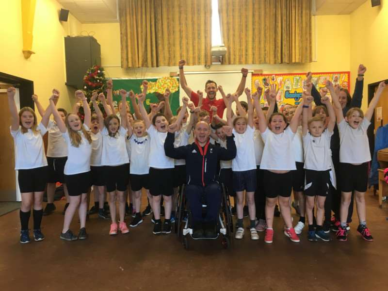 Pupils and staff at Roydon Primary School recieved some world-class motivation for paralympian, Sean Rose. Picture: Andrew Martin.