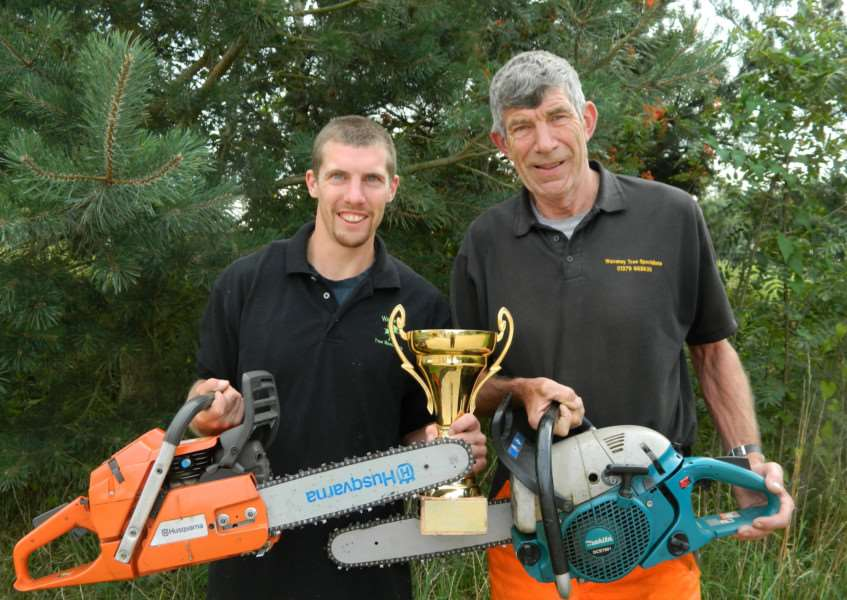 Alan Garnham (right) and his son, Kristian, of Waveney Tree Specialists based in Hoxne, recently took part in the UK Logging Championships in north Wales. Submitted photo.