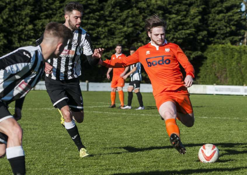 ON TARGET: Shaun Hunsdon scored Diss' goal in the 1-1 draw at Holland FC