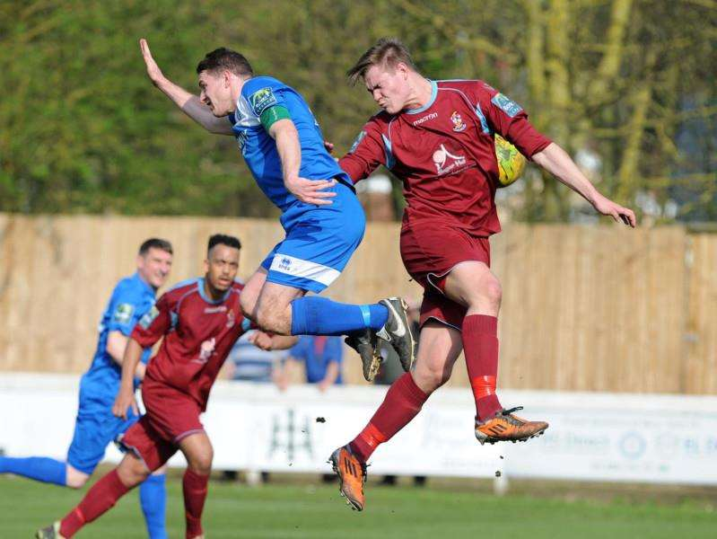 HIGH-FLYING: Ollie Hughes scored a brace for Bury Town to see them to a 2-0 home win over Brentwood Town. Picture: Mecha Morton