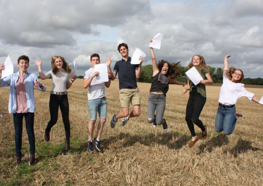 Debenham High School students celebrate on GCSE results day. Submitted picture.