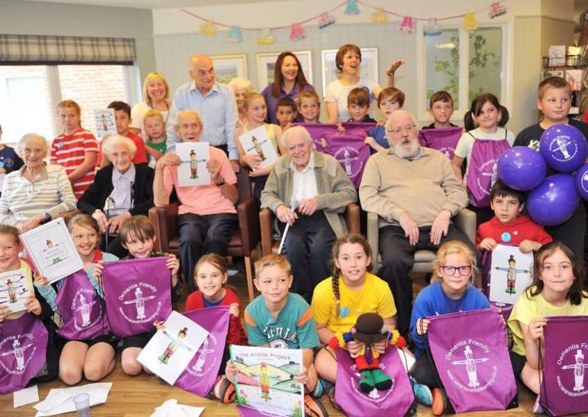 Hartismere Place residents were joined by children from St Peter and St Paul CEVA Primary School as part of the Archie Project, an initiative set up by the charity Reminiscence Learning, and introduced by Care UK at the home. Photo: Lucy Taylor.