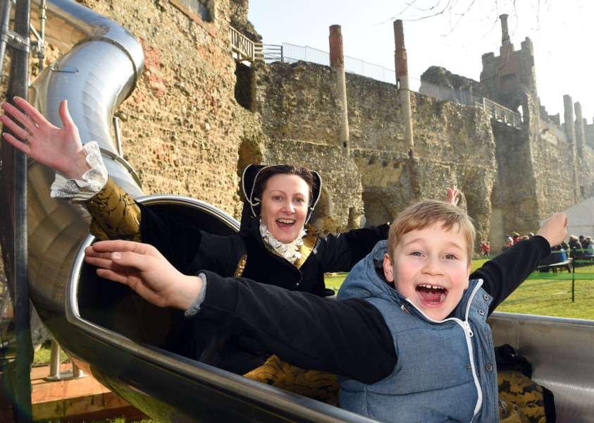 Prize-winner jack on the slide within the walls of Framlingham Castle