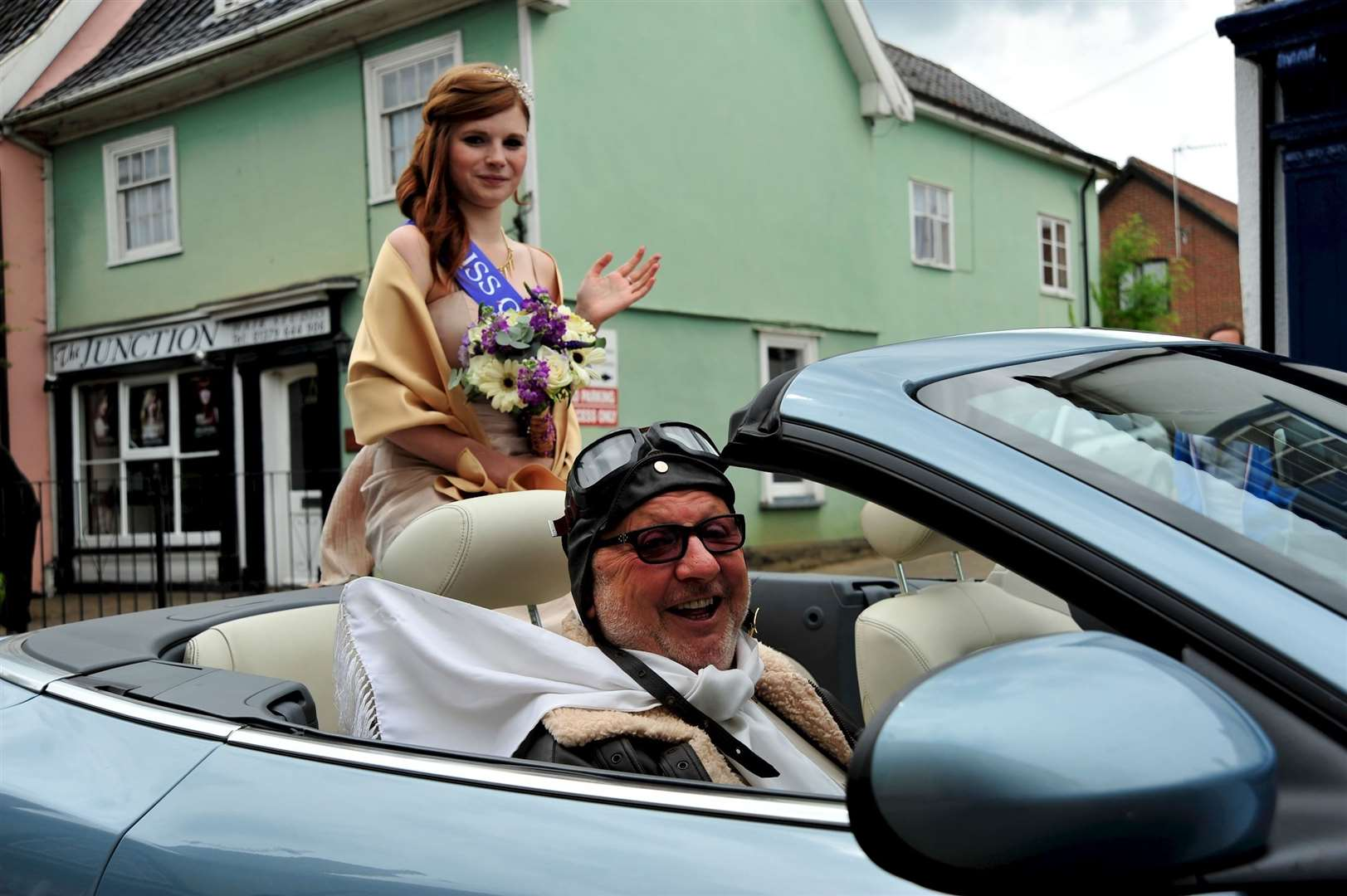 Diss Carnival Procession 2013. Alice Cater, driven by the late Peter Gillings.