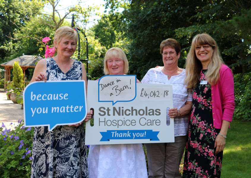 Miranda McCoy, St Nicholas Hospice Care fundraiser, receives a cheque for �4,042.18 from Dianne Thorrold, Lynn Dolder and Catherine Gooderham.