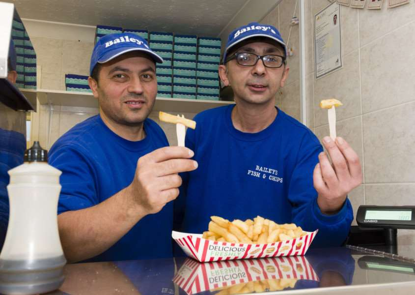 Diss, Norfolk. Bailey's Fish and Chip shop on Shelfanger Road, Diss, will be giving free meals on Christmas day for the second year in a row. Pictured are Mehmet Keles and Cengiz Bolat.''Picture: MARK BULLIMORE PHOTOGRAPHY