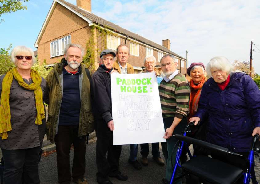 Eye, Suffolk. Mid Suffolk District Council has purchased the former Paddock House care home site. A number of residents gather on Saturday, as they are fearful there will not be any consultation with the council. ''Picture: MARK BULLIMORE