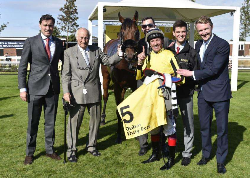 FAMILY OCCASION: George Scott, the Gredleys and Frankie Dettori celebrate James Garfield's win at Newbury last year. Picture: Newbury Racecourse