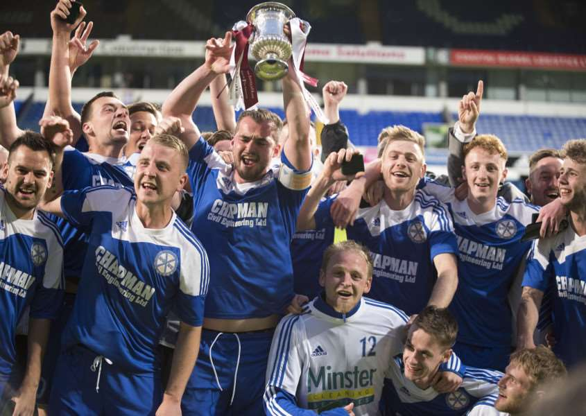 SUCCESSFUL STINT: AFC Hoxne players celebrate winning the Suffolk Junior Cup at Portman Road last season