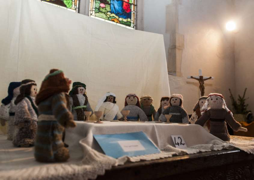 Jenny Vere and others have created over 50 bible scenes out of knitted figures and props to be displayed in St Nicholas Church, North Lopham.