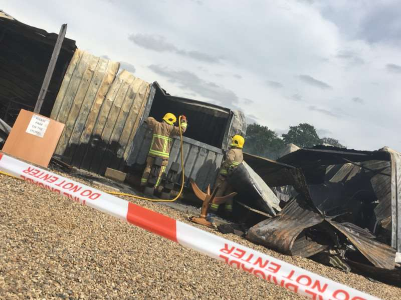 A blaze has destroyed a furniture store in Bacton. Photo: Andrew Martin.