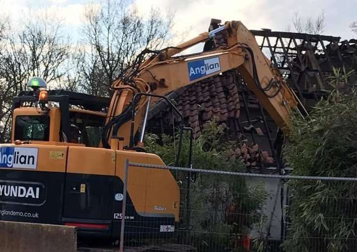 Demolition of the fire-damanged Breckland Lodge has begun. Submitted picture.