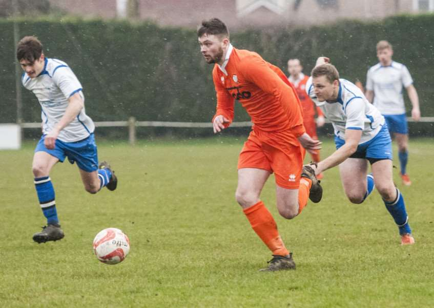 KNOCKED OUT: Charlie Webb scored Diss' goal during their Norfolk Senior Cup loss to Fakenham
