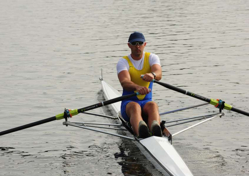 A Peterborough City Rowing Club member in action at Thorpe Meadows. Photo: Alan Storer