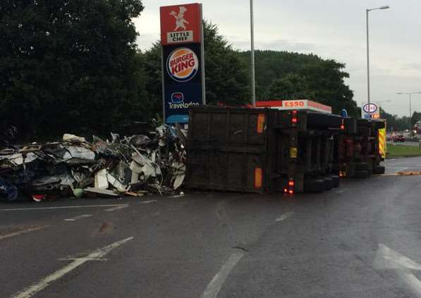 The overturned lorry blocking the A11 this morning