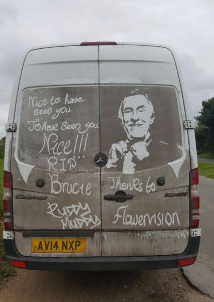 Rick Minns, known as Ruddy Muddy, with his latest work, in tribute to the late Sir Bruce Forsyth. Photo: Rick Minns.