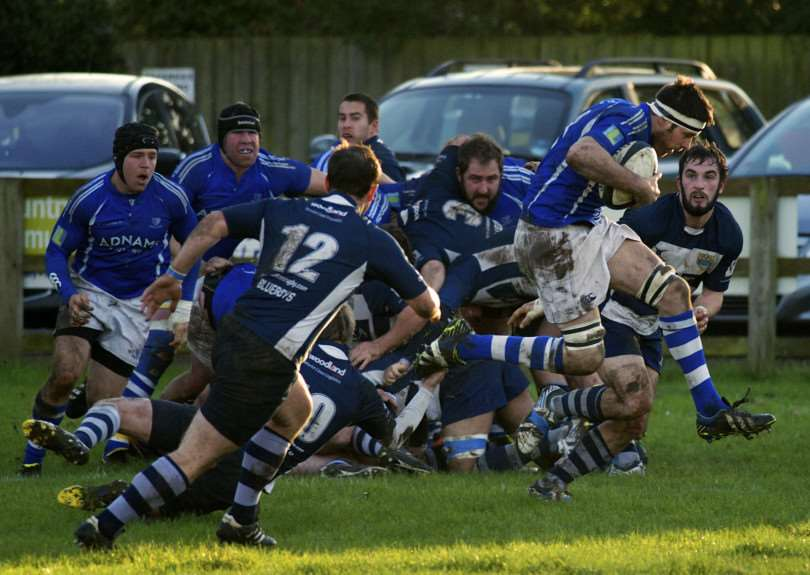 AIRBORNE: A Diss player makes a surging jump free out of the scrum during Saturday's emphatic home win