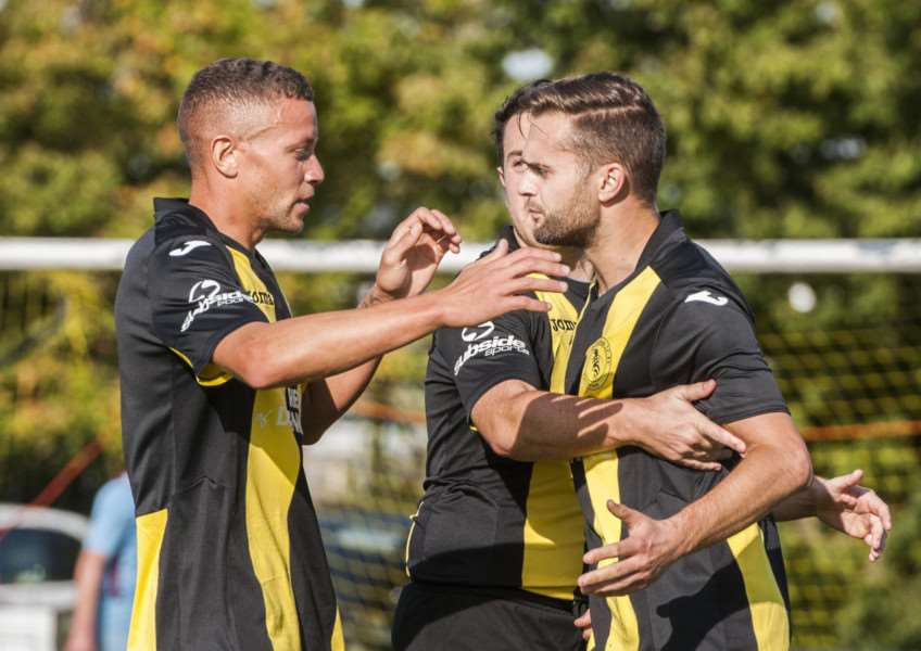 CUP UPSET: Debenham are hoping there will be more scenes of celebration when they take on Thetford in the FA Vase