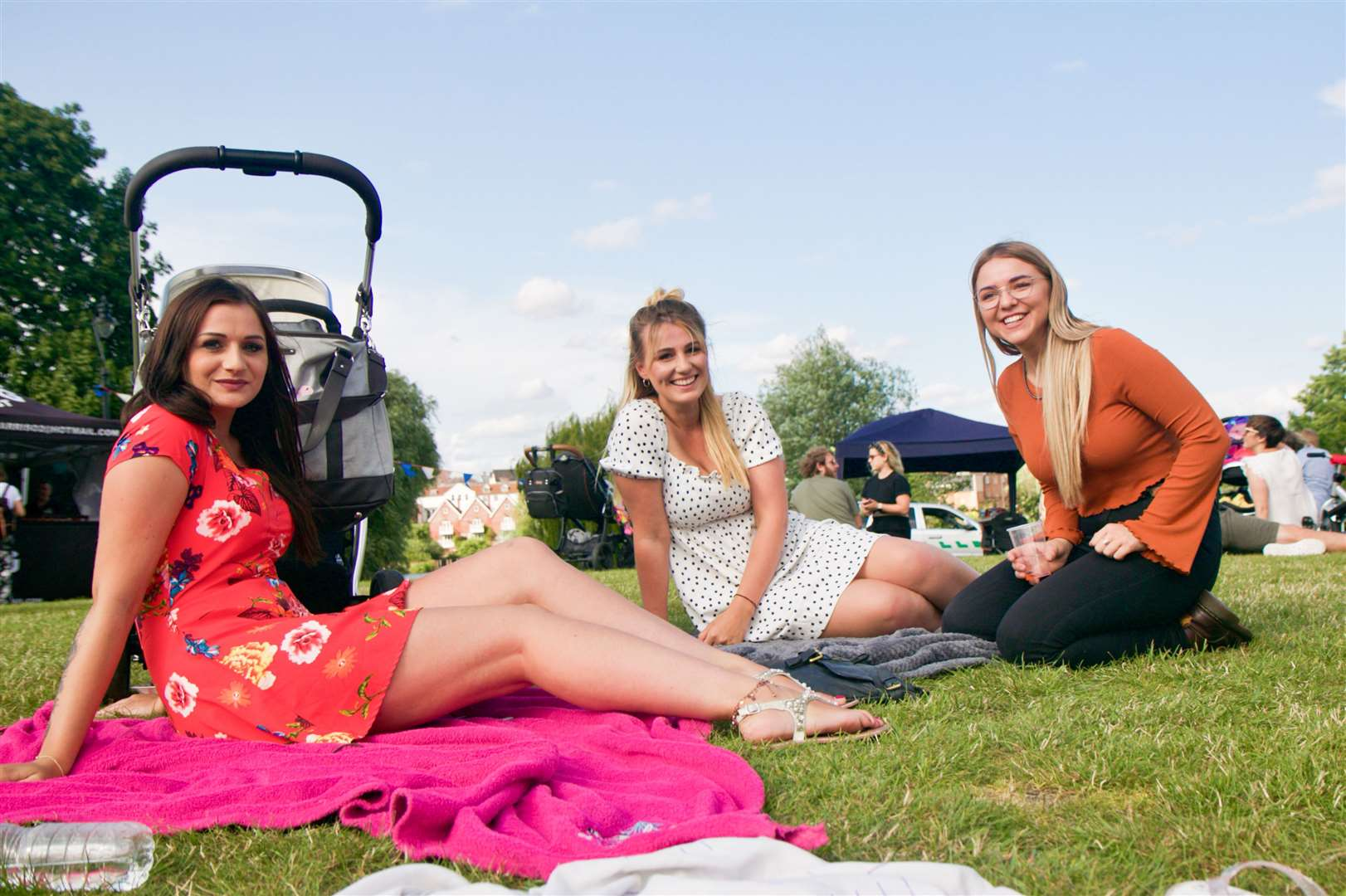 Cassie Potter, 24, Sharna Bird, 24, and Lucy Head, 24, from Diss, catch some raysPictures/video: Chris Morris