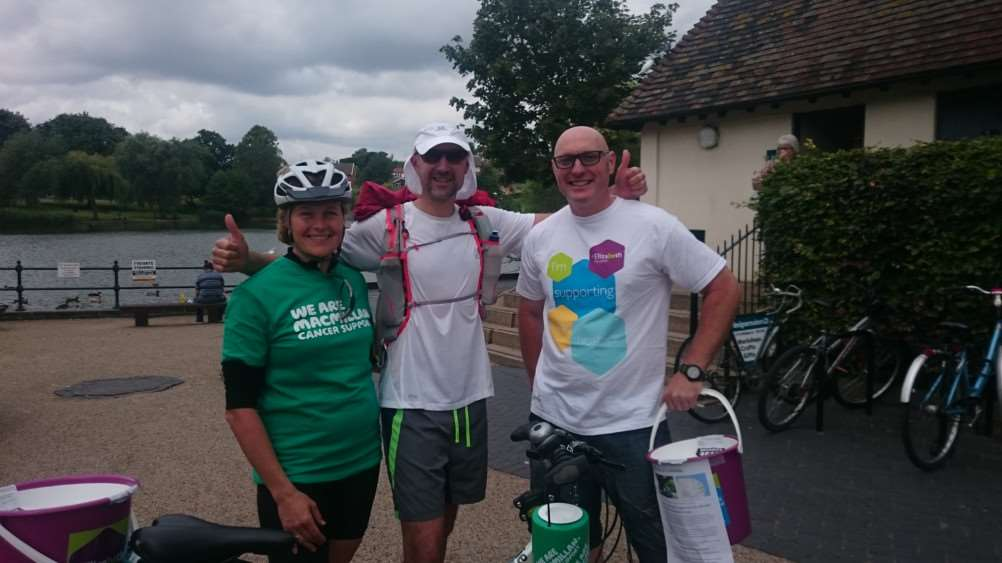Mark 'Harry' Harrison (centre), pictured with partner Lorraine Farley and Shaun Govan during a stop in Diss. Picture: Zach Ward