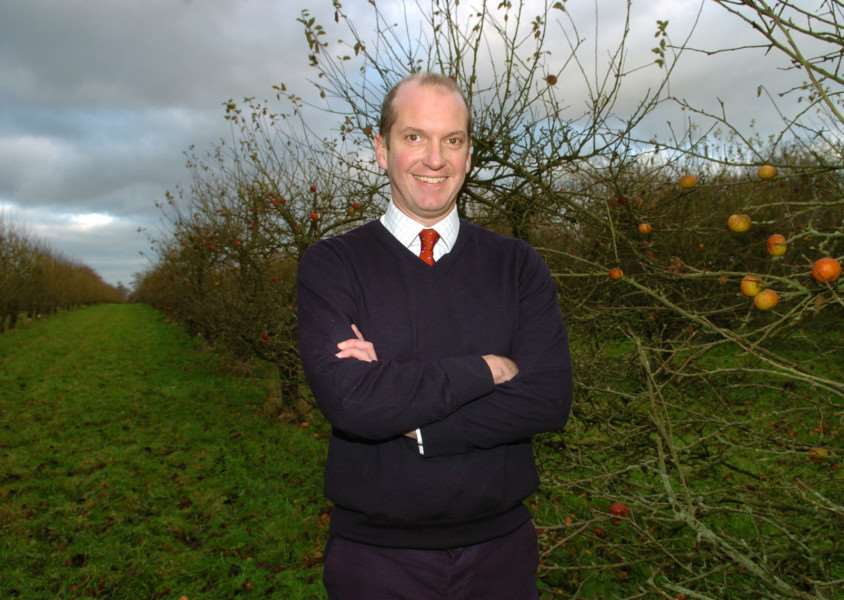 Aspall Cyder''chairman Barry Chevalier Guild in the company's orchards