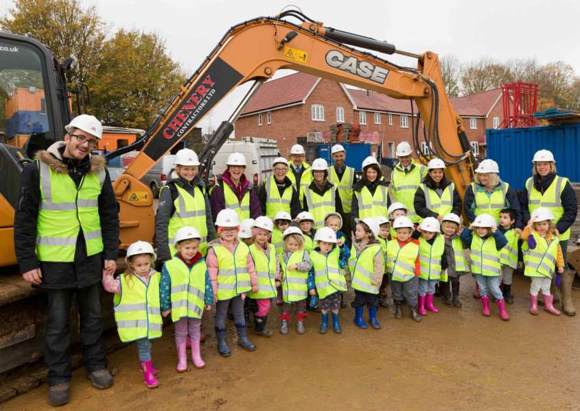 An award-winning family building company has welcomed a party of local nursery school children to its development in Framlingham.'Bennett Homes hosted a visit from Sir Robert Hitcham's CEVAP School to Tudor Gardens located off New Road, where the 21 four-year olds, accompanied by teachers and volunteer parents and helpers, were given a demonstration of a number of construction activities. PHOTO: KEITH MINDHAM.