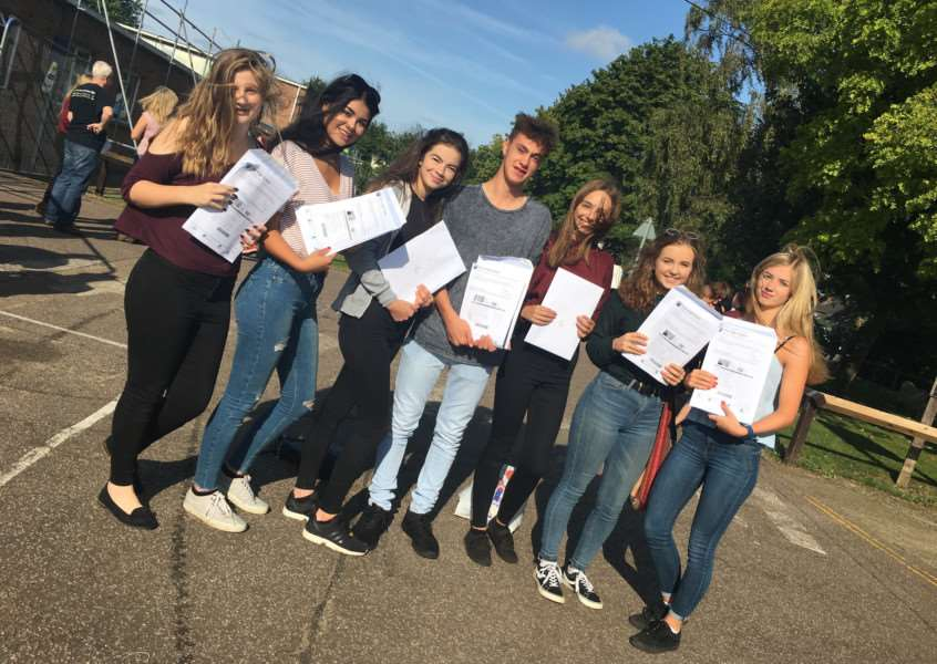 Pupils celebrate their GCSE grades at Diss High School. Picture: Andrew Martin.