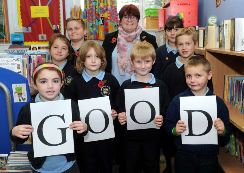 Shelton with Hardwick Primary School has been rated 'Good' by Ofsted. '''Pictured Executive Headteacher Laura Jestico with some pupils'''''PICTURE: Mecha Morton
