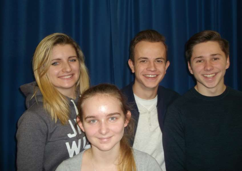 (From) Emily Pegg, Wioleta Przyborska, Harvey Bloomfield, Jordan Green, of Diss High School Sixth Form, have organised an auction to support two childrens' charities. ANL-150912-153441001
