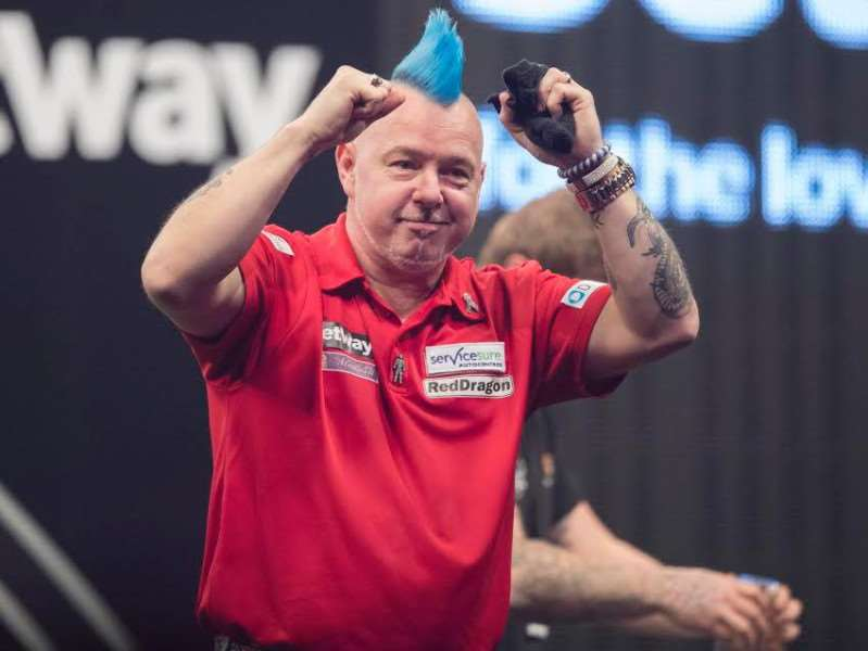 BIG WIN: Peter Wright dropped just one leg in his victory over Raymond van Barneveld. Picture: Steve Welsh/PDC