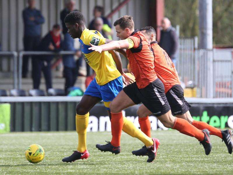 CHASED DOWN: AFC Sudbury were beaten 3-1 at the Kings Marsh Stadium by Ware. Picture: Richard Marsham