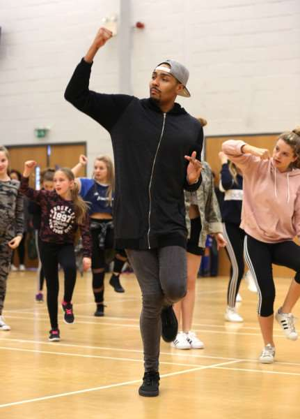 Perri Kiely and Jordan Banjo from Diversity hold a dance workshop with the LK School of Dance in Eye.'Pic - Richard Marsham/RMG Photography